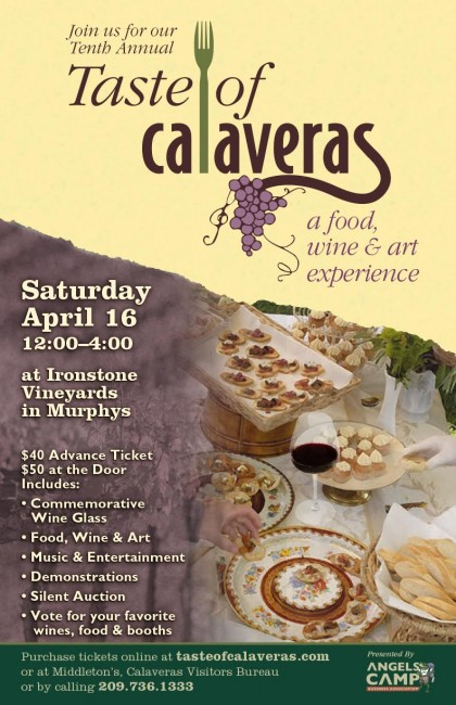 Join us at Taste of Calaveras on April 16th at Ironstone Vineyards